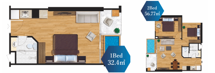 1BED ROOM & 2BED ROOM